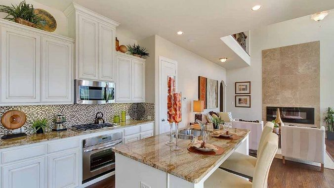 The 66 best Kitchens images on Pinterest   Kitchens  New home     Entertaining is easy in this stylish kitchen at Main Street Coppell by  Darling Homes