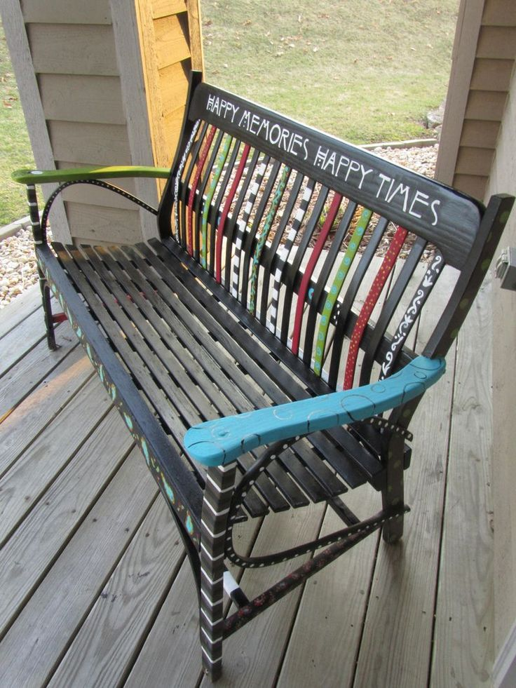 1000 images about bench painting on pinterest outdoor for Painted outdoor benches