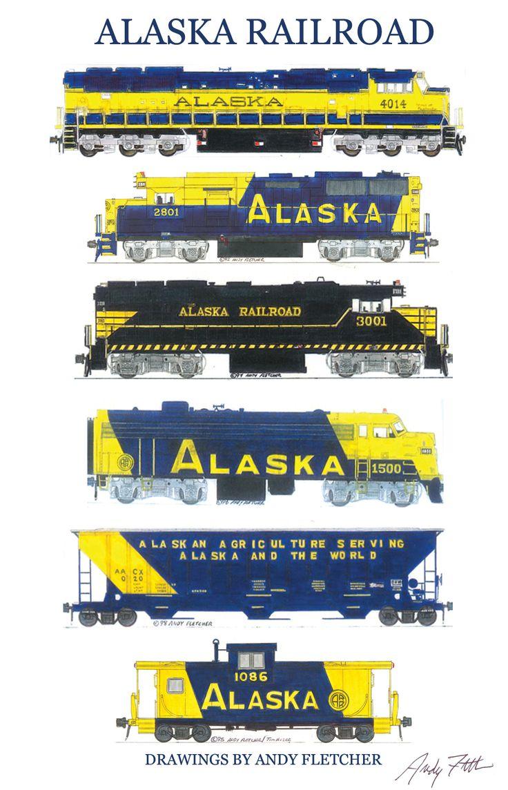 6 hand drawn Alaska Railroad drawings by Andy Fletcher