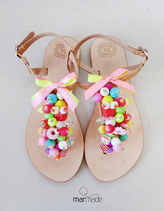 Sandals  Handmade leather sandals decorated in by MyMarmade, €43.00