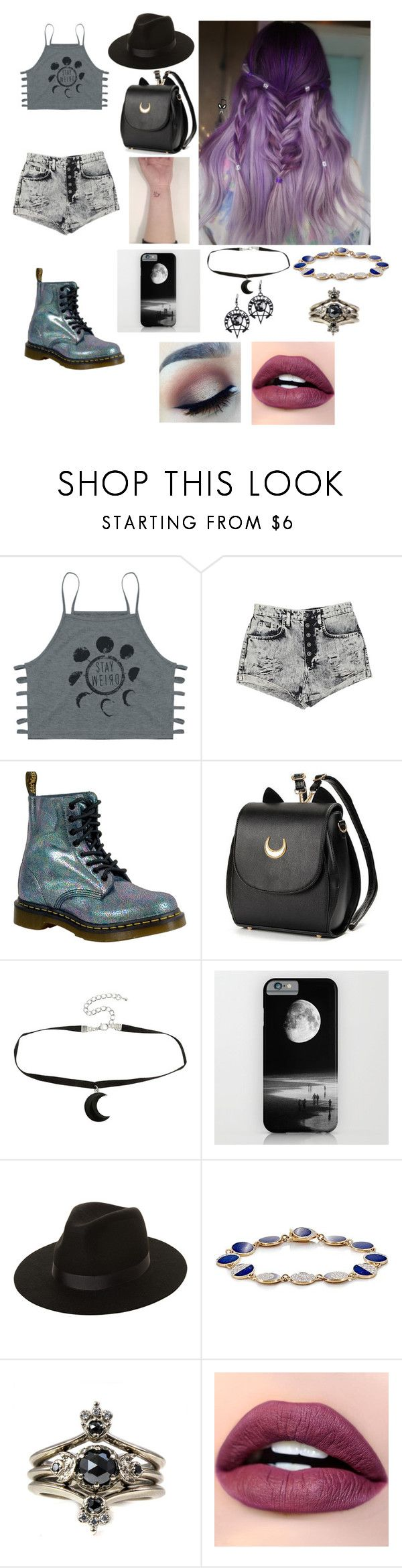 """""""to the moon and back"""" by xxjasperbiersackxx ❤ liked on Polyvore featuring Carmar, Dr. Martens, Hot Topic, Lack of Color, Pamela Love and Silvana"""