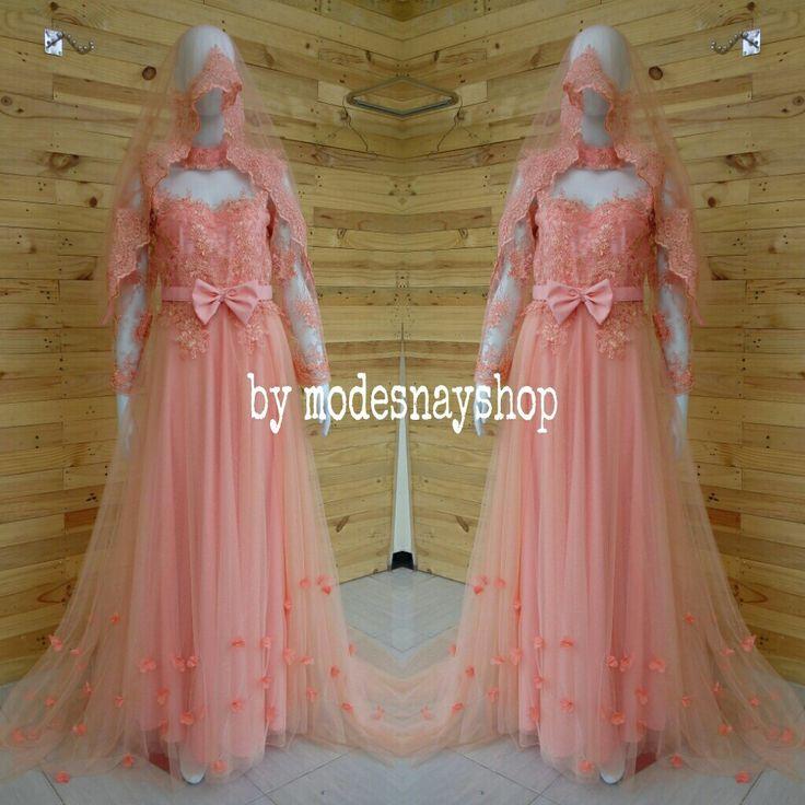 Gown wedding peach