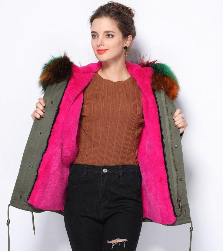 Rainbow Fur Jacket. Rainbow Raccoon Fur. Hot Pink faux fur lining. Dovetail detail, pockets & snap buttons. Parka style. Broadcloth fabric. Manufac says thi