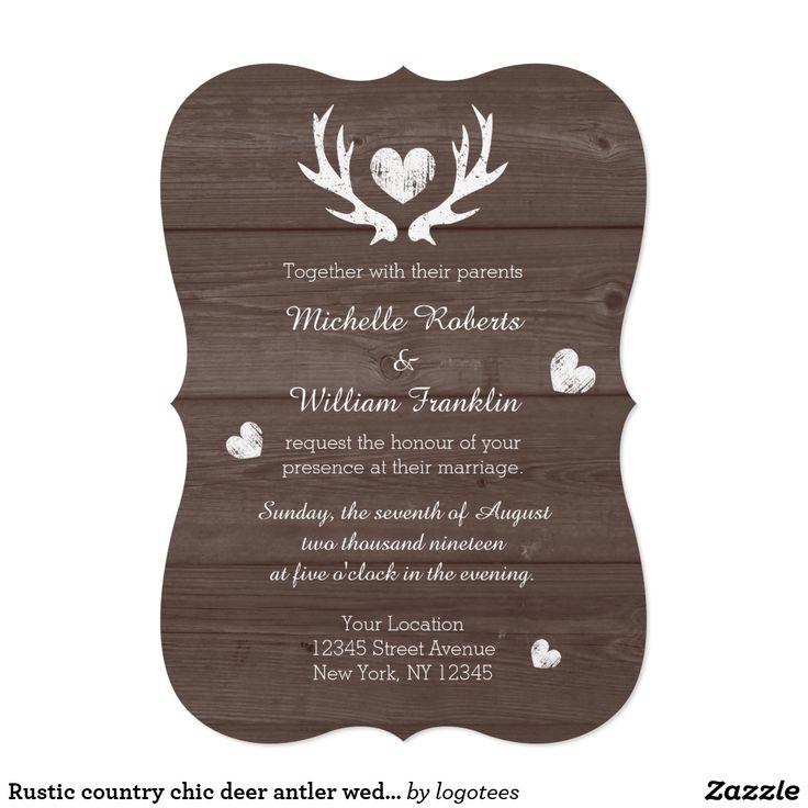 deer hunter wedding invitations%0A Rustic country chic deer antler wedding invitation