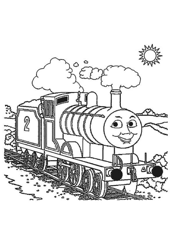 Thomas le petit train en été.