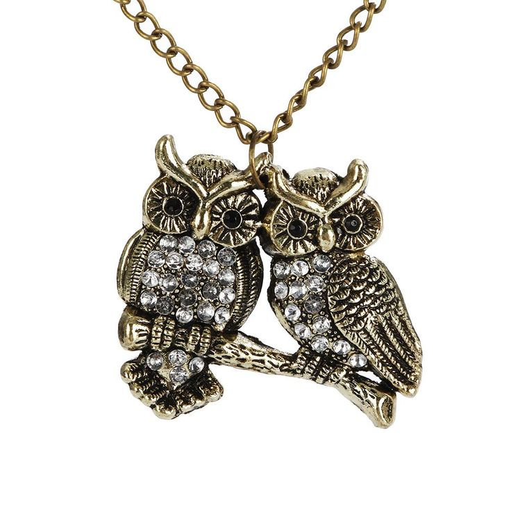 New Fashion Women Charm Chic Girls Gold-color Strung Chain Double Owl Vintage Retro Pendant Lovely Necklace