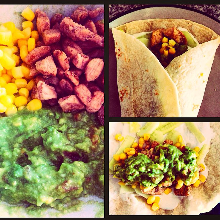 Tacos con cubitos de pollo, guacamole, pepino, choclo y crema ácida.