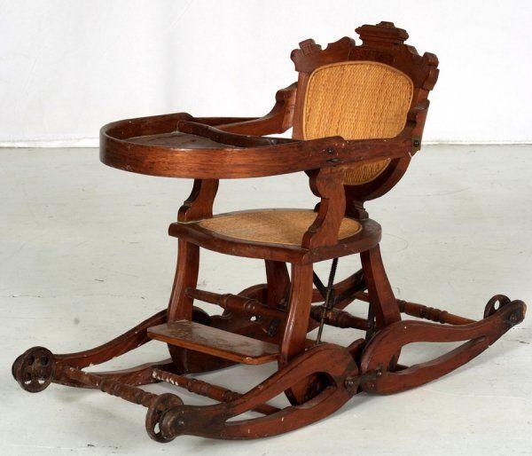 Antique oak child's highchair/rocker circa 1900 Antique