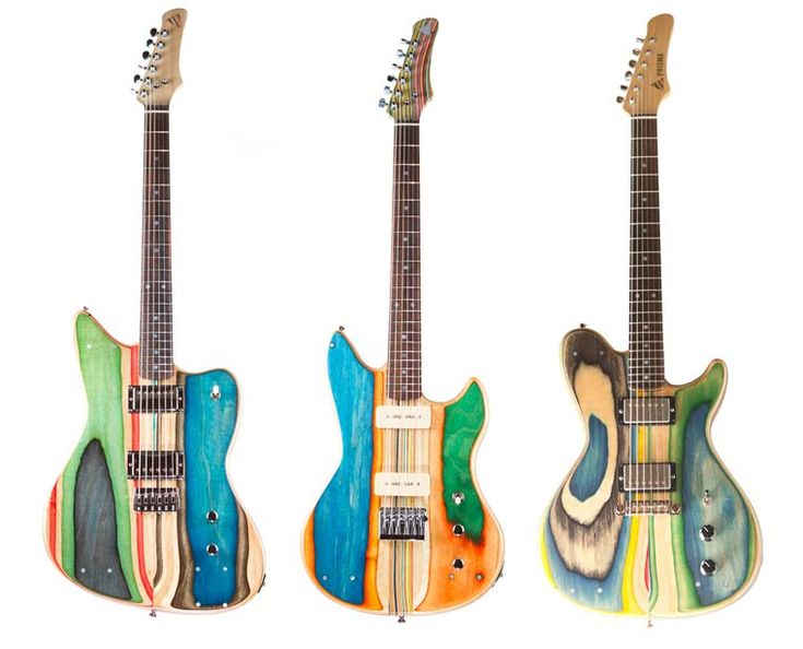 De jolies guitares en skateboards recyclés