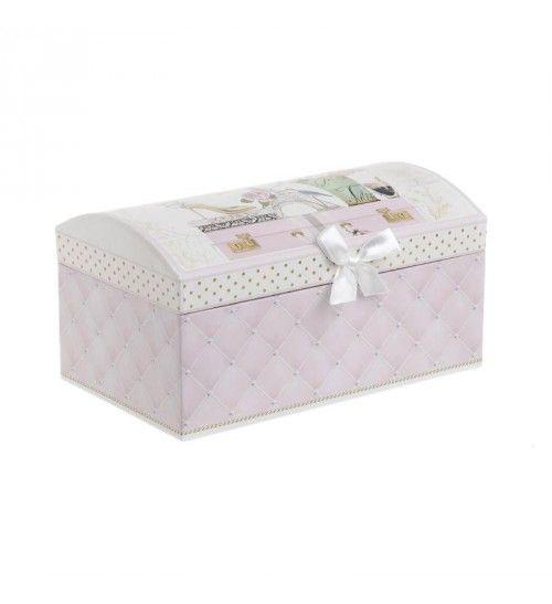 JEWELLERY BOX W_MIRROR 'EIFEL' PINK COLOR 20X12_5X10_5