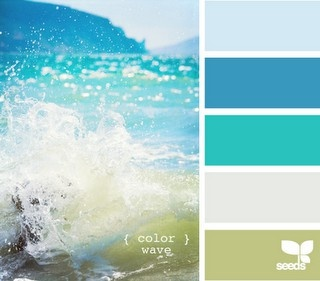 Blue green teal white