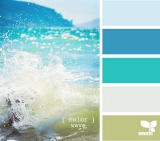Blue green teal white