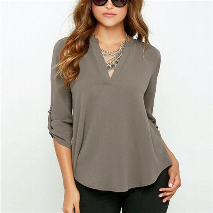 New Women V Neck Solid Chiffon Blouse 2017 Spring Sexy lady Long Sleeve Blusa Fashion Blouses Shirt 5 Colors Tops Plus Size