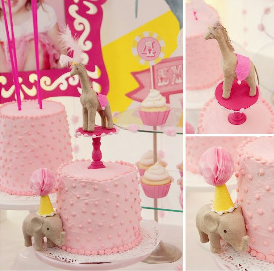 Elephant Circus Birthday Cake - Girl Birthday Ideas