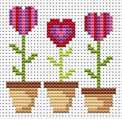 Fat Cat Cross Stitch - Love Grows cross stitch kit