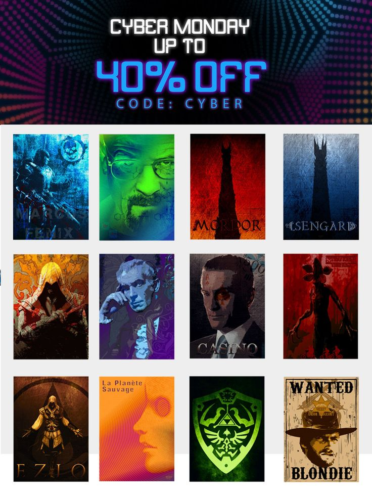 Cyber Monday Sale Extended  40% OFF - Use code: CYBER . Movie & Gaming Posters on Metal Prints. #poster #displate #homedecor #family #movieposter #onlineshopping #sales #discount #save #movies #film #cinema #gaming #gamer #gamingposter #tvshow #strangerthings #christmasgifts #xmasgifts #gifts #breakingbad #houseofusher #vincentprice #laplanetesauvage #cybermonday #gamingposters #art #cybermonday2017 #thelegendofzelda #ezioposter #hitmanposter #mordorposter #isengardposter…