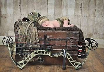 Rustic baby boy bow hunting theme newborn portrait