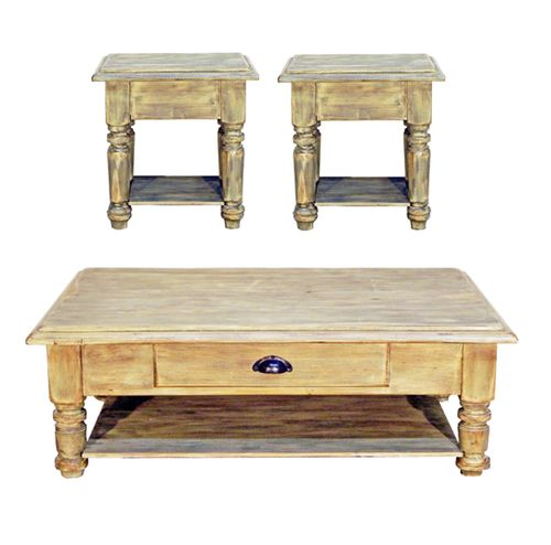 3 PC Rustic Rough Cut Mint Green Coffee Table & End Table Set