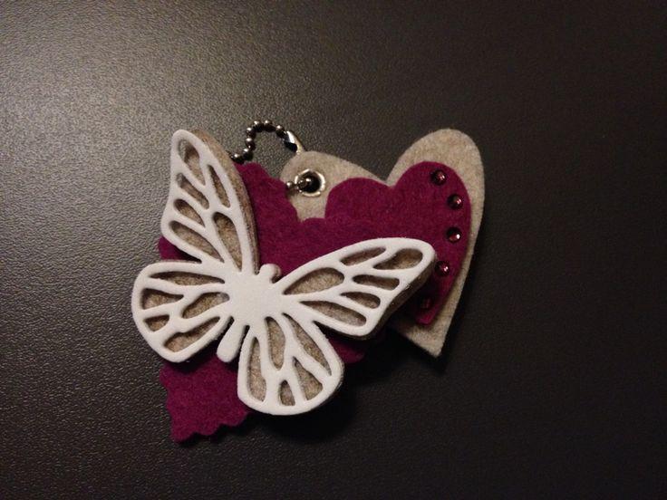 Portachiavi feltro farfalla