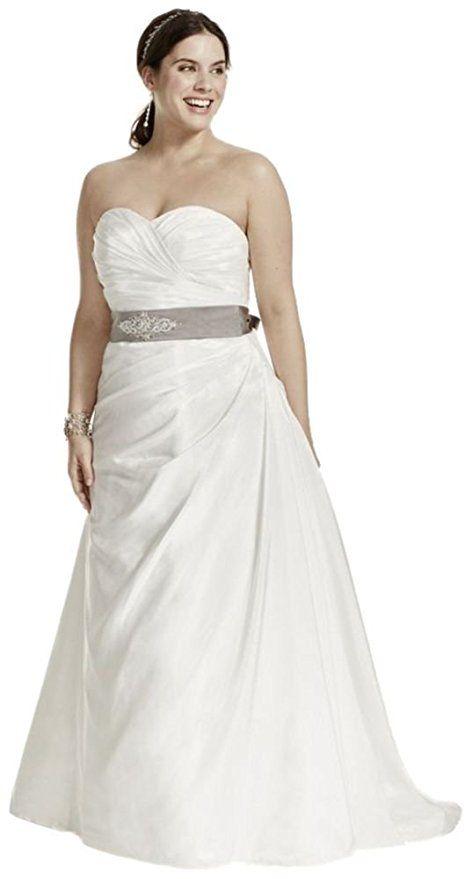 Cool Cheap Plus Size Wedding Dress Taffeta Ruched A Line Plus Size Wedding Dress Style