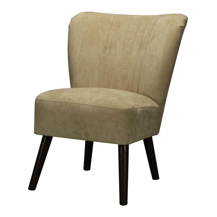 Mid Century Style Chair, Dark Mahogany, Cream
