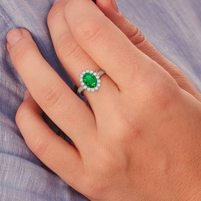 Princess Diana Inspired Emerald Ring With Diamond Halo Emerald