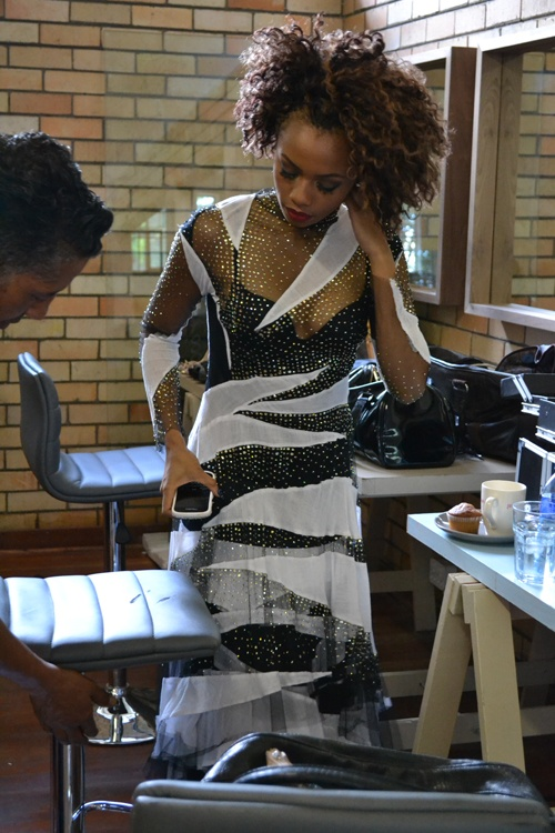 Bonang-Matheba on set of 'It-girl meets designer.'