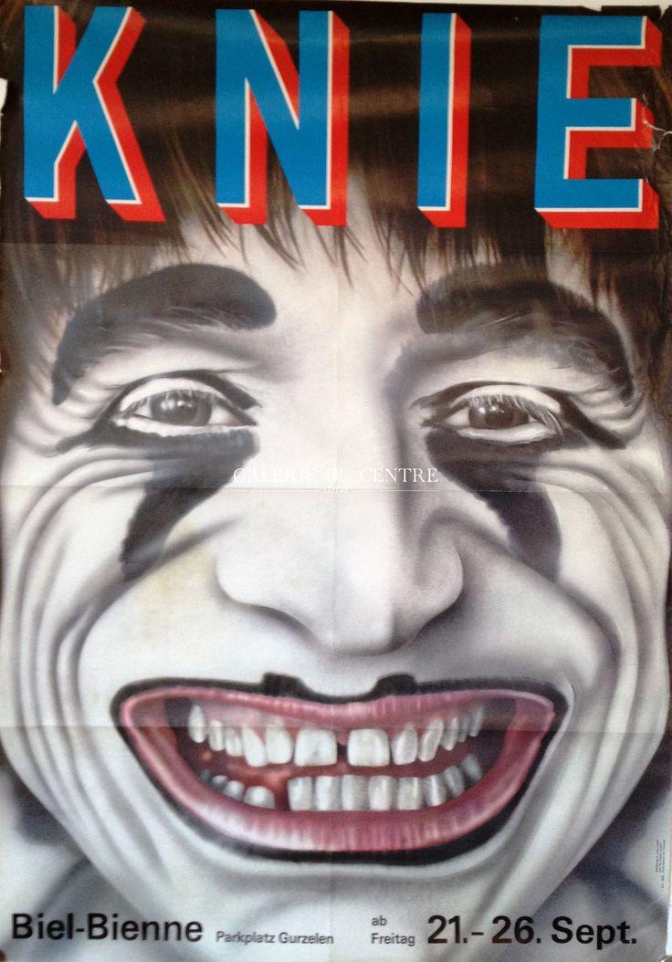 Très belle affiche originale de Dimitri pour le cirque Knie à Bienne du 21 au 26 septembre 1979