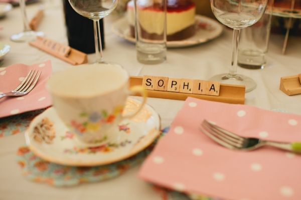 """using scrabbles tiles as place """"cards"""" // photo by weheartpictures.net"""