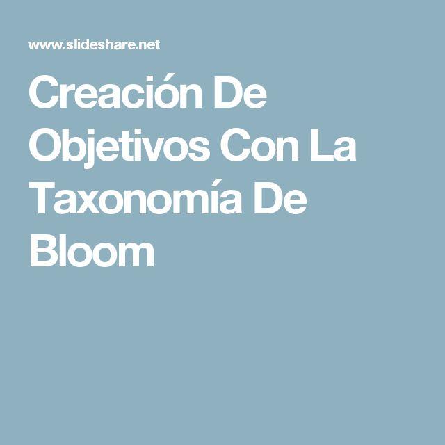 Creación De Objetivos Con La  Taxonomía De  Bloom