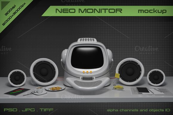 Neo Monitor mockup by stallfish's art store on @creativemarket