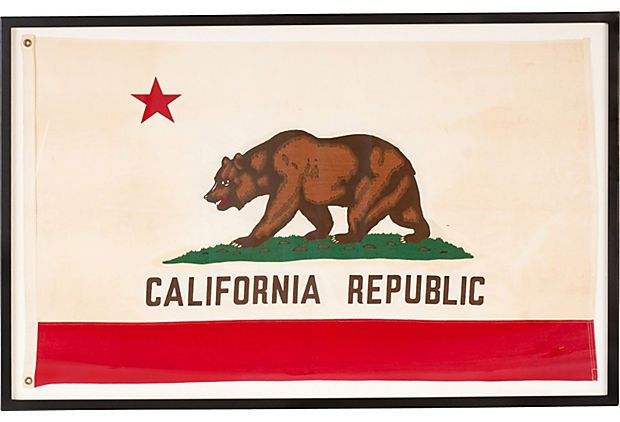 Framed Vintage California Flag