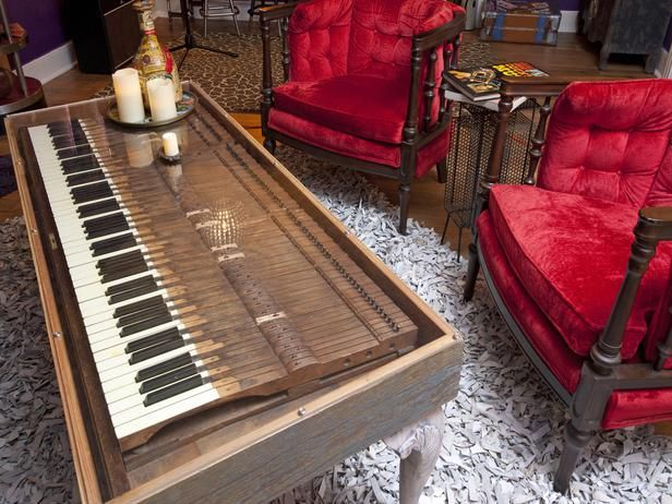 The Junk Gypsies sisters love scouring thrift shops for treasures, like this set of piano keys. They added a wooden frame and legs and topped them with a piece of plexiglass to create a coffee table that fits right in a music or theater room.