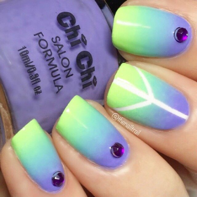 """When the power of love overcomes the love of power, the world will know peace"" - Jimi Hendrix  Neon gradient with accent peace sign nail ✌️Polish pictured here is 'Mile High Club' from Chi Chi Cosmetics  Tutorial coming soon..  #thenailtrail"