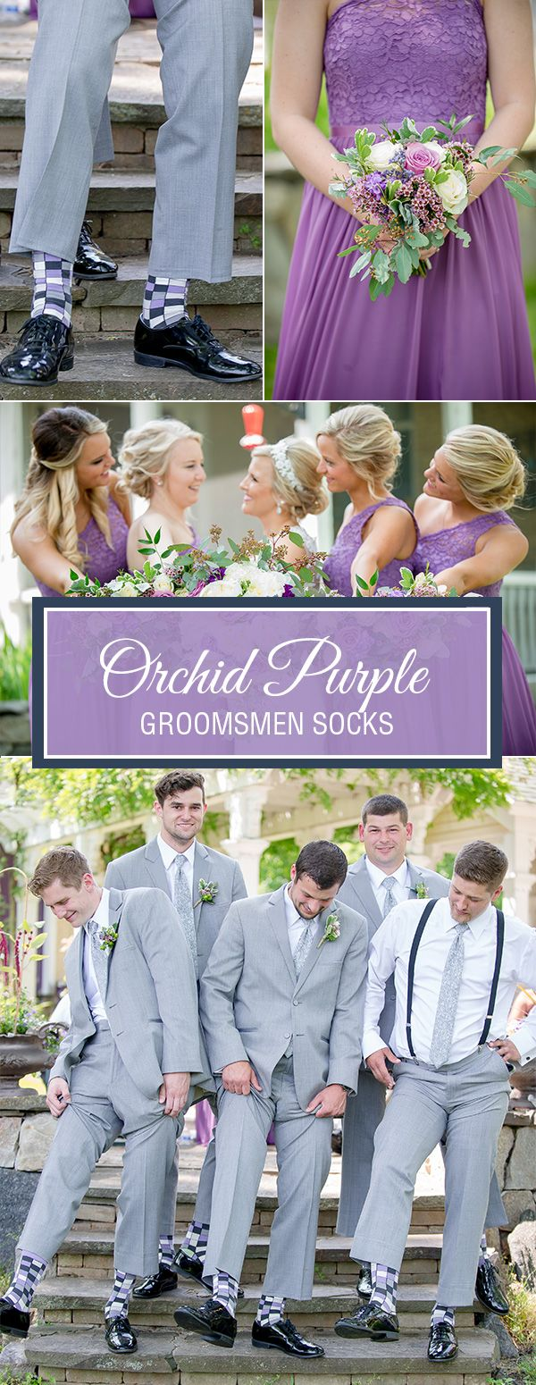 Orchid purple is a beautiful, soft wedding color that looks as sharp on the groomsmen as it does on the bridesmaids. With flowers in full bloom and the grass and trees creating rich shades of green, the subtleties of lighter shades of purple like iris and orchid create a perfect pop of color for summer weddings. We especially like the gray tuxedo or suit to keep the mood light and the pictures bright and airy. Shop these groomsmen socks and more.