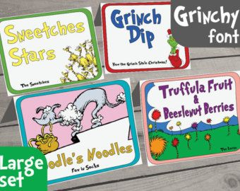 Many of the most popular Dr. Seuss books have food references. What better way to label food at a Dr. Seuss party, than with themed food tags?