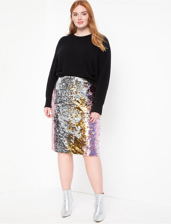 The Best Sparkly Plus-Size Outfits For A Bangin' New Year's Eve | Womens pencil skirts, Sequin pencil skirt, Pencil skirt outfits