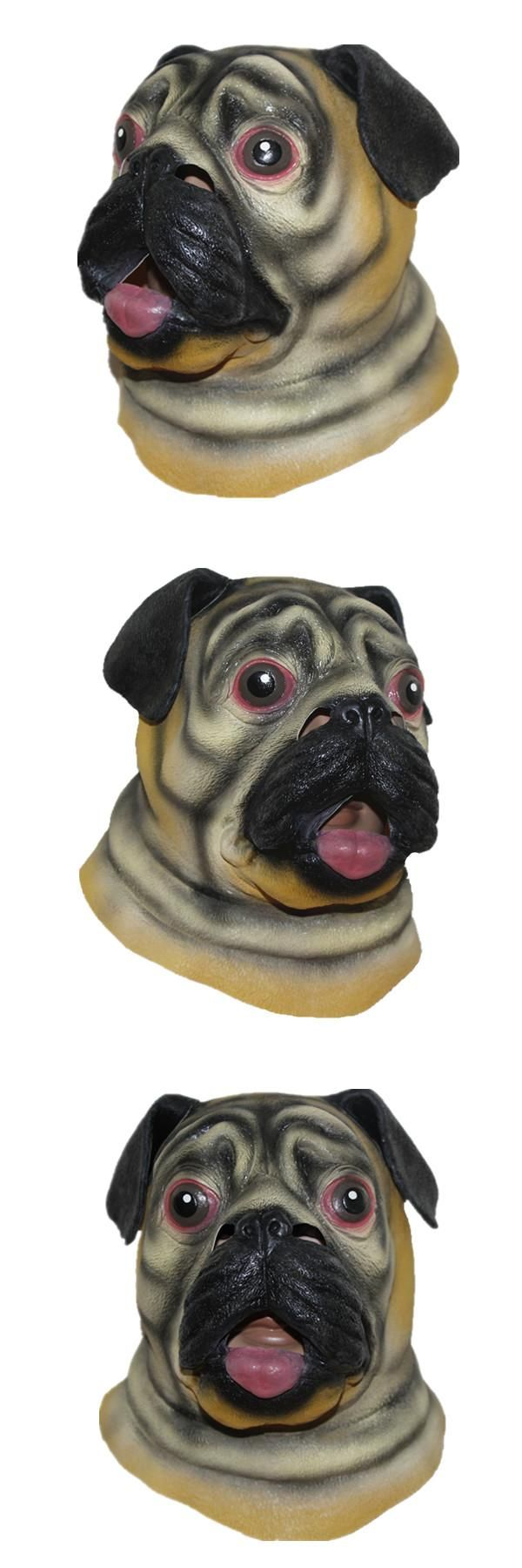 X-MERRY TOY Cute Pug Latex Mask Animal Face Head Halloween Costume Party Puppy Dog Mask