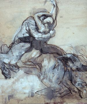 Auguste Rodin, Centaur Abducting a Young Man, ca. 1880, pen and brown ink, brown wash, heightened with white