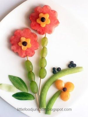 Flowers.  Watermelon , papaya, grapes, cucumber , falsa  ( Indian berry ) (probably use blueberries), kakdi ( armenian cucumber ).  Gadgets- flower shaped cookie cutter ( large n small), melon baller & skewers .