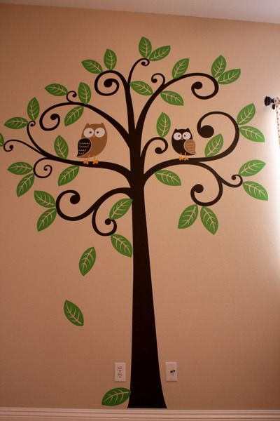owls in tree mural @Ali Potter...cute idea for Terrin's tree too...or one in a children's room