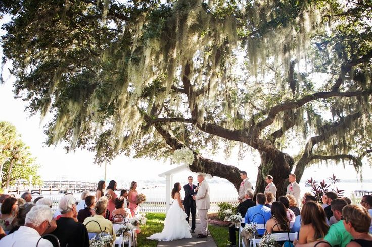 Picturesque Palmetto Wedding at Palmetto Riverside Bed and Breakfast, FL  Beautiful outdoor ceremony!  Limelight Photography