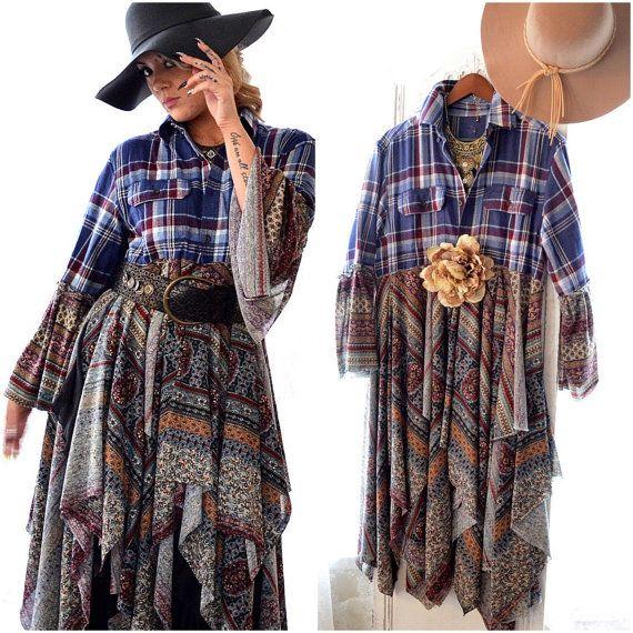 Hippie chic, flannel duster, Hippie dress, bohemian gypsy, Festival Flannel, duster dress, Purple blue, winter jacket, boho clothes, true rebel