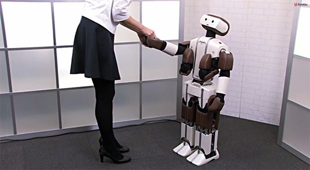 ASRA C1 is 1.2 meters tall, weighs 13.5 kilograms, and has 35 degrees of freedom, according to specs released by the company. Its limbs are powered by Futaba servos, and it has a gyro, accelerometer, camera, and other sensors. Parts of its body have soft padding, making it safer for people to interact with the robot.