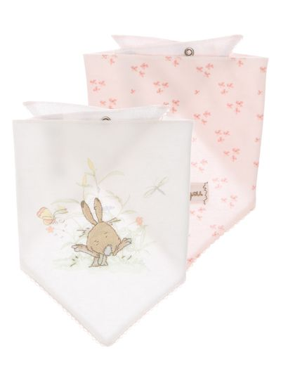 These pretty little hanky bibs are great for stocking up and getting ready for messy mealtimes. In pink and white colours, these adorable little bibs have pointed bases and popper fasteners, with  'I love you' lettering patterns and rabbit prints  running all over the soft and practical material.<br /><ul><li>Girls pink guess how much i love you bibs</li><li>Pack of 2</li><li>Pointed base</li><li>Popper fasteners</li><li>Rabbit print</li><li>I love you lettering</li><li>Keep away from…