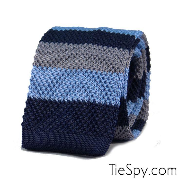 New Luxury Mens 2 Tone Blue Grey Striped Woven Tie (Necktie Knitted Skinny)