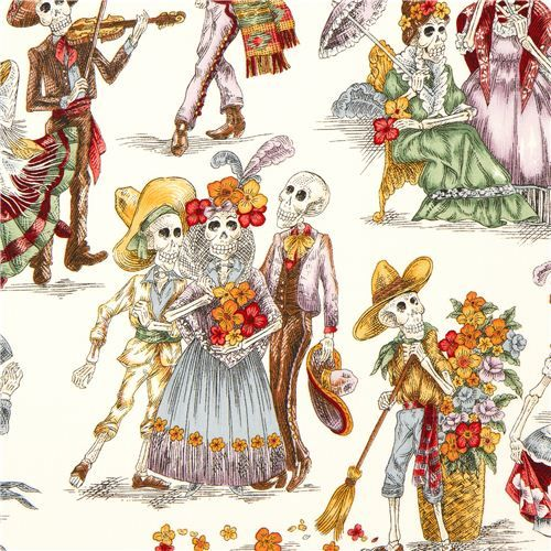 white Mexican skeleton party Alexander Henry fabric