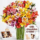 100 Blooms of Peruvian Lilies with Chocolates and Square Glass Vase