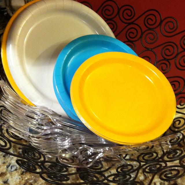Plates and utensils holder.