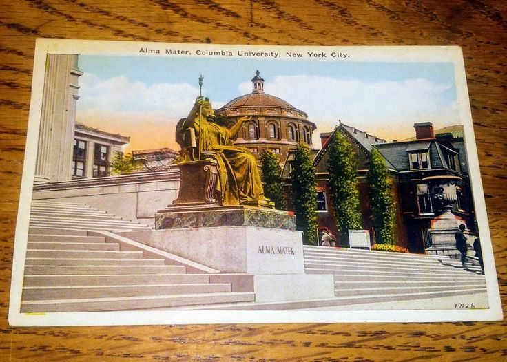 Postcard NY Columbia University Alma Mater Matronly Figure Academic Robe Statue